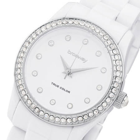 【brosway】True Color Mini 女錶鑽面PC鍊帶 白色