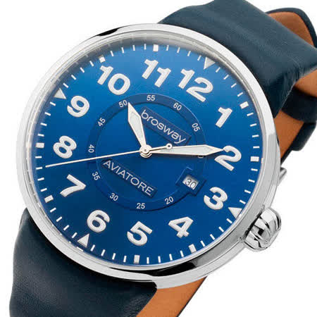 【brosway】Oblo Aviatore 男錶鋼面皮帶 藍色
