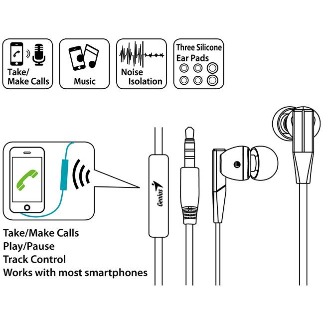 genius hs-m230 耳道式密闭型噪音隔绝式耳机麦克风