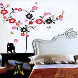 大型牆面閃石裝飾貼片-花嬉貓