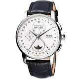 MIDO Baroncelli 系列月相皮帶腕錶-銀 M86074M142