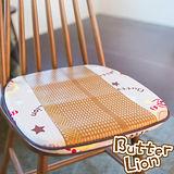 【奶油獅】正版授權-涼夏必購~高支撐記憶聚合-搖滾星星紙纖餐椅墊-米白(二入)