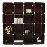 【舞動創意】百變創意大尺寸16格收納櫃 30.5cm_56片-經典咖啡