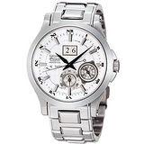 SEIKO Premier 萬年曆人動電能腕錶-銀白 7D48-0AA1S