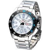 SEIKO 運動風尚5號24石自動機械錶-白/ 黑框