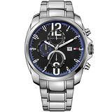 TOMMY HILFIGER 探險家三眼時計腕錶-黑/銀 M1790831