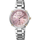 CITIZEN xC 馨悦之旅【鈦】電波腕錶-粉紅/銀 EC1044-55W