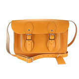 【The Leather Satchel Co.】11吋 英國手工牛皮劍橋包 肩背 側背包 精湛工藝 新款磁釦設計方便開啟(駝黃)