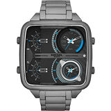 DIESEL SBA 戰逆時空四時區腕錶-黑/鐵灰 DZ7284