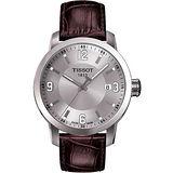 TISSOT PRC200 系列都會石英腕錶-銀/咖啡 T0554101603700