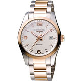LONGINES Conquest 18K玫塊金機械腕錶-白/雙色版 L27855767