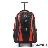 AOU微笑旅行 輕量經典款可收筆電拉桿雙肩後背包(活力橘)26-001