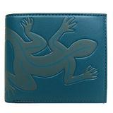 agnes b 滿版雙色蜥蜴短夾(附零錢袋)(藍綠)