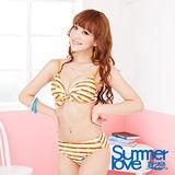 【夏之戀SUMMERLOVE】鋼圈橘色橫條比基尼二件式泳衣S13788