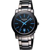 VOGUE 都會雅仕大三針腕錶-IP黑/藍時標/38mm 9V0234DB