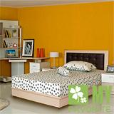 最愛傢俱 新復古款式 《白橡 3.5單人尺床台 方格造型 》 單人普通床台