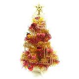台灣製繽紛2呎(60cm)金色金箔聖誕樹+裝飾組(紅蘋果純金色系)(不含燈)