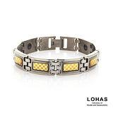 【LOHAS-日本鍺鈦】晶典格紋5顆錐形金屬鍺男款手鍊