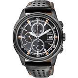 CITIZEN Eco-Drive 運動悍將光動能計時腕錶(黑/42mm) CA0375-00E