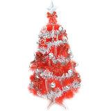 台灣製6尺(180cm)特級紅色松針葉聖誕樹 (銀紅色系配件)(不含燈)
