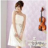【白色戀人中大尺碼】杏色時尚東方花網小禮服洋裝