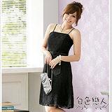 【白色戀人中大尺碼】黑色時尚東方花網小禮服洋裝