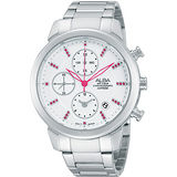 ALBA 夢幻旅程三眼計時晶鑽腕錶-銀 YM92-X258S