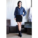 【ZARA】TRF混搭單寧襯衫拼接連身窄裙(藍)