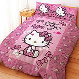 【享夢城堡】HELLO KITTY 蝴蝶結甜心系列-雙人四件式床包涼被組(粉)