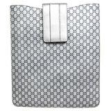 GUCCI 雙G LOGO皮革壓紋iPad 皮套(銀)