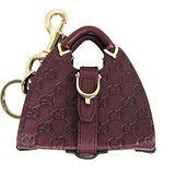 GUCCI 牛皮壓紋賈姬包吊飾鑰匙圈(紫紅)