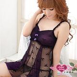 【天使霓裳】甜美結飾 柔紗性感連身情趣睡衣(深紫)