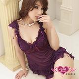 【睡衣館-天使霓裳】浪漫逸品 薄紗性感睡衣睡褲組(紫)