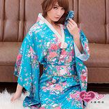 【天使霓裳】京都物語 浴衣和服 角色扮演服(藍)