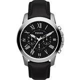 FOSSIL Grant 旗艦三眼計時復刻腕錶-黑 FS4812