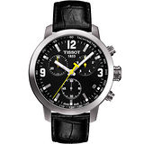 TISSOT PRC200 霸氣時尚三眼計時腕錶(黑皮帶/42mm) T0554171605700
