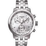TISSOT 天梭 PRC200 霸氣時尚三眼計時腕錶(銀/42mm) T0554171103700