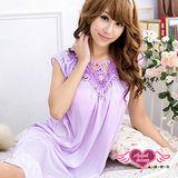 【天使霓裳】簡約雅致 休閒居家連身睡衣(紫)