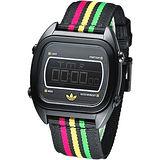 adidas 亮采休閒風帆布電子腕錶-黑ADH2809