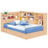 HAPPYHOME 妮可拉3.5尺書架型加大單人床165-3(只含床頭-床底-收納櫃-不含床墊)