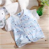 (購物車)魔法Baby~百貨專櫃正品短袖前全開扣居家上衣~藍~k03287