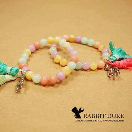 【Rabbit Duke】現貨 經典歐美風格 個性繽紛粉嫩天然石拼接流蘇小鹿設計串珠手鍊 -friDay購物 x GoHappy