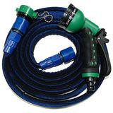 MIT專利-高彈力防爆型7.5米伸縮水管(深藍)-贈八段式水槍+卡榫式水龍接頭