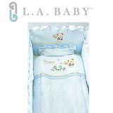 美國 L.A. Baby 熊寶貝純棉五件式寢具組(S)(MIT 藍色)