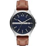 A│X Armani Exchange 雅痞時尚風格手錶-藍x咖啡 AX2133