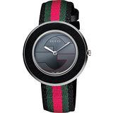 GUCCI U-Play 系列 G&G時尚女錶-灰x綠紅綠版 YA129444