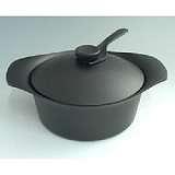 【柳宗理】-南部鐵器-雙耳深鍋-附黑鐵蓋+叉