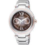 CITIZEN L系列光動能日曆腕錶-咖啡x銀 FD4007-51W