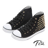 【韓國T2R】鉚釘百搭內增高休閒高筒帆布鞋 7cm 黑(5600-0080)