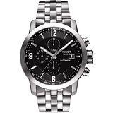 TISSOT T-Sport PRC200 競速快感三眼計時機械腕錶(黑x銀/43mm) T0554271105700